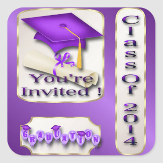 Purple and Gold Graduation envelope seal Stickers
