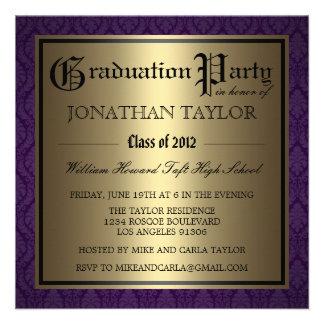 Purple and Gold Graduation Custom Invites