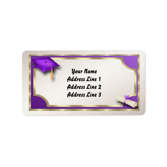 Purple and Gold Grauation Address Labels