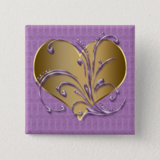 Purple And Gold Heart 15 Cm Square Badge