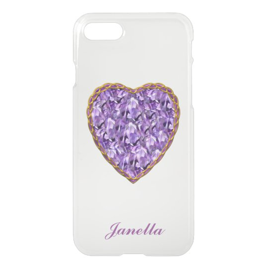Purple and Gold Heart Clear iPhone 7 Case