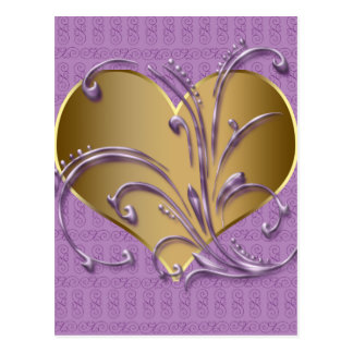 Purple And Gold Heart Postcard