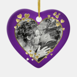 Purple and Gold Hearts Frame Christmas Ornament