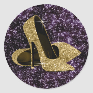Purple and Gold High Heel Shoe Stickers