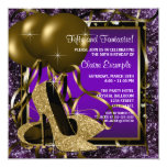 Purple and Gold High Heels Womans Birthday Party 13 Cm X 13 Cm Square Invitation Card