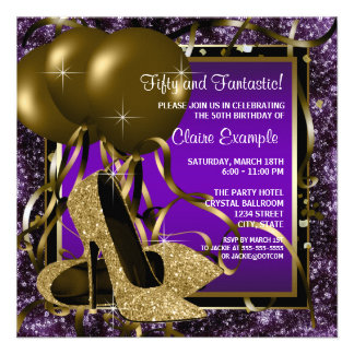 Purple and Gold High Heels Womans Birthday Party Custom Invitations