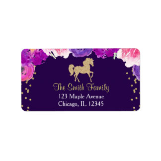 purple and gold horse return address labels