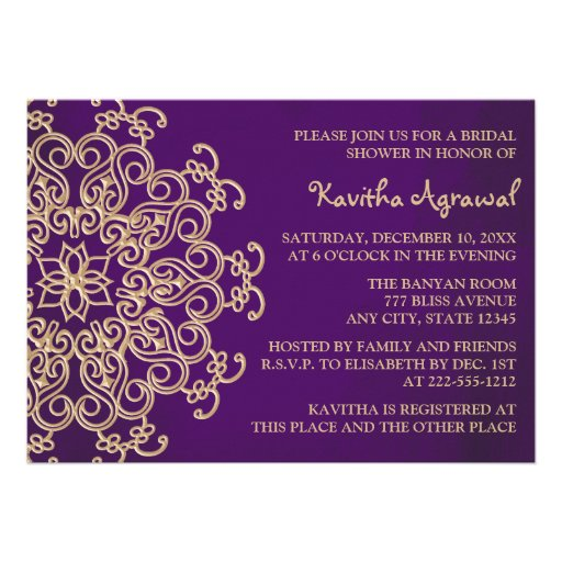 Purple and Gold Indian Inspired Bridal Shower Personalized Invitation