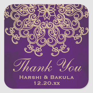 PURPLE AND GOLD INDIAN INSPIRED THANK YOU LABEL