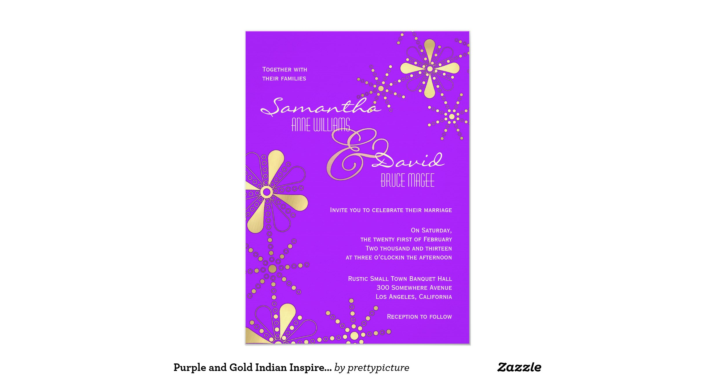 Purple Indian Wedding Invitations: Purple And Gold Indian Inspired Wedding 5x7 Paper
