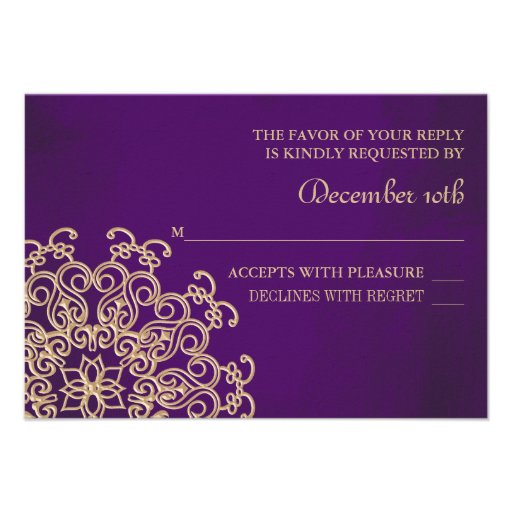 PURPLE AND GOLD INDIAN RESPONSE RSVP CARD