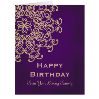 PURPLE AND GOLD INDIAN STYLE BIRTHDAY CARD