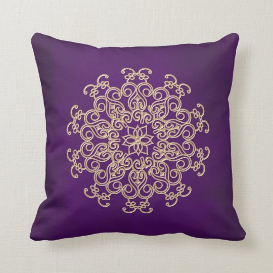 PURPLE and Gold Indian Style Throw Pillow