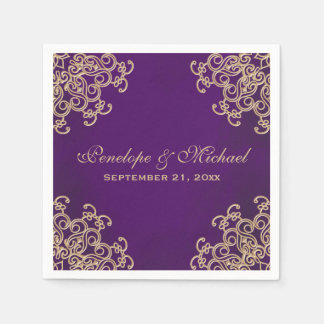 Purple and Gold Indian Style Wedding Disposable Napkins