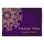 PURPLE AND GOLD INDIAN STYLE WEDDING THANK YOU NOTE CARD