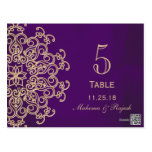 PURPLE AND GOLD INDIAN WEDDING TABLE NUMBER CARD
