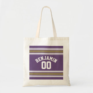 Purple and Gold Jersey Stripes Custom Name Number Budget Tote Bag
