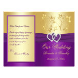 Purple and Gold Joined Hearts Wedding Program 21.5 Cm X 28 Cm Flyer