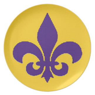 Purple and Gold Louisiana Fleur de Lis Plate