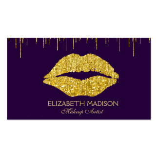 Purple and Gold Makeup Artist Glitter Lips Pack Of Standard Business Cards