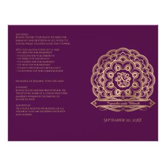 Purple and Gold Mandala Hindu Wedding Program Flyer