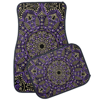 Purple and Gold Mandala On Black Or Any Color Floor Mat
