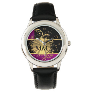 Purple and gold monogram on black watch