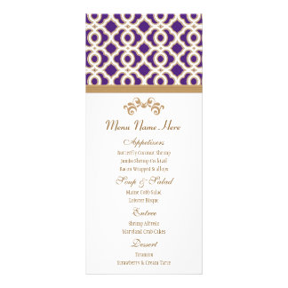 Purple and Gold Moroccan Menu Customised Rack Card