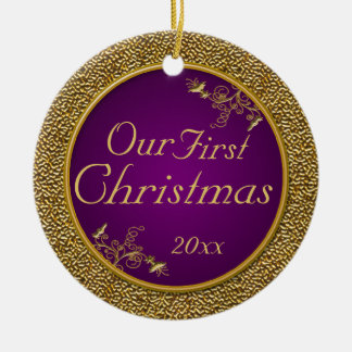 """Purple and Gold """"Our First Christmas"""" Ornament"""