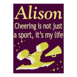 PURPLE AND GOLD PERSONALIZED CHEERING POSTER