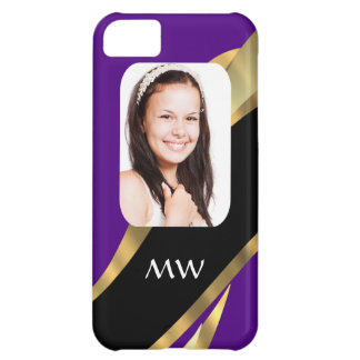 Purple and gold photo template iPhone 5C case