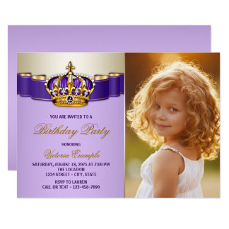 Purple and Gold Princess Birthday Party 13 Cm X 18 Cm Invitation Card