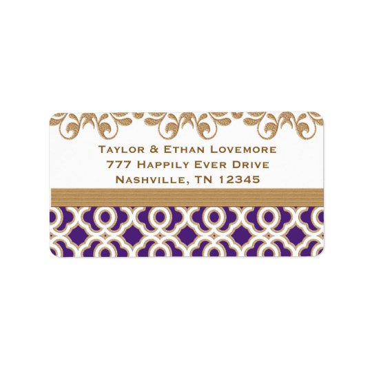 Purple and Gold Return Address Labels