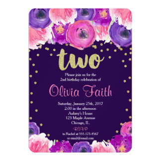purple and gold second birthday invitation