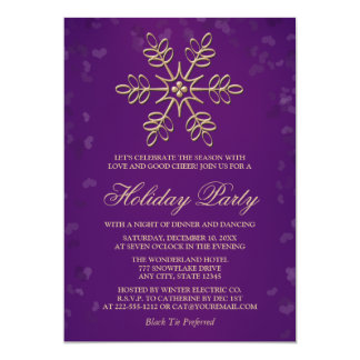 Purple and Gold Snowflake Holiday Party 13 Cm X 18 Cm Invitation Card