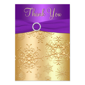 Purple and Gold Snowflakes Thank You Card 13 Cm X 18 Cm Invitation Card