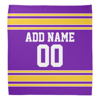 Purple and Gold Sports Jersey Custom Name Number Kerchief