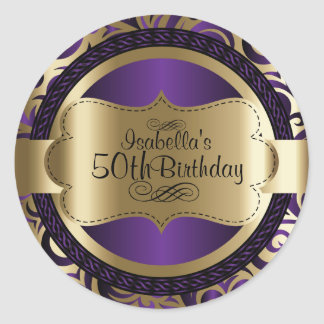 Purple and Gold Swirl Abstract Birthday Classic Round Sticker
