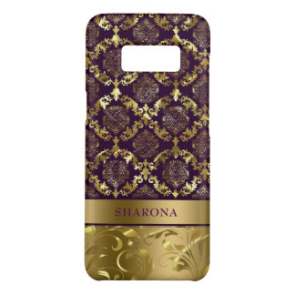 Purple and gold swirly floral Damasks Case-Mate Samsung Galaxy S8 Case