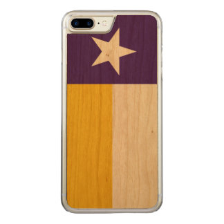 Purple and Gold Texas Flag Carved iPhone 7 Plus Case