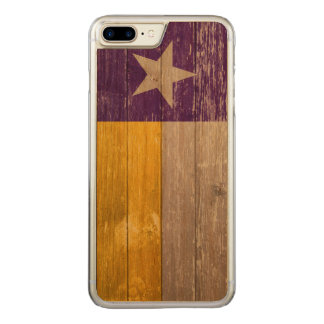 Purple and Gold Texas Flag Painted Old Wood Carved iPhone 8 Plus/7 Plus Case