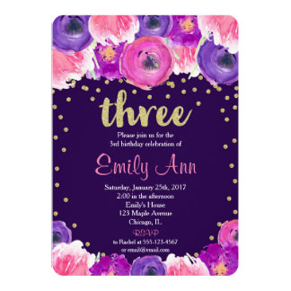 purple and gold third 3rd birthday invitation