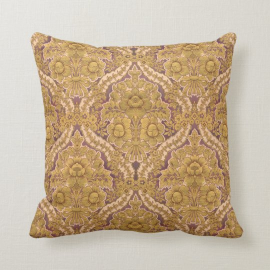 Purple and Gold Victorian Floral Damask Throw Pillow