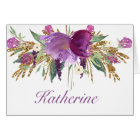 Purple and Gold Watercolor Flowers Notecards