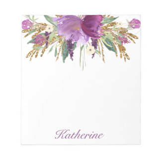 Purple and Gold Watercolor Flowers Notepad