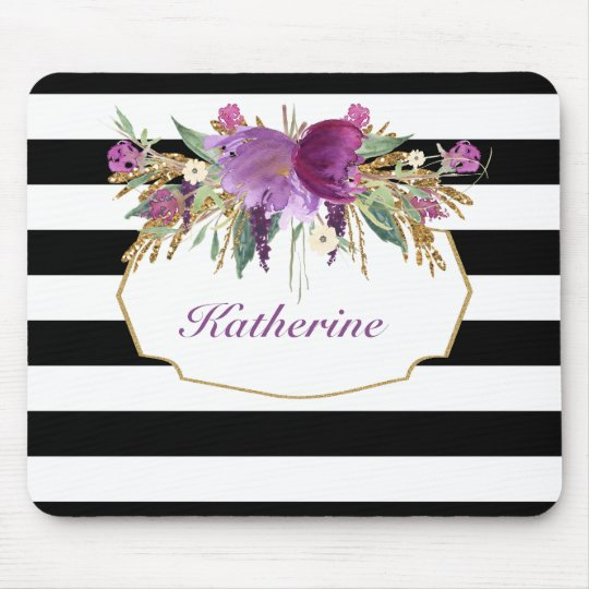 Purple and Gold Watercolor Flowers Personalised Mouse Mat