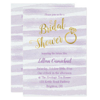 Purple and Gold Watercolor Stripe Bridal Shower Card