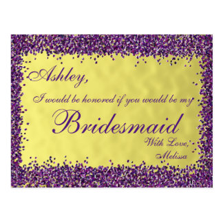 Purple and Gold - Will You Be My Bridesmaid? Postcard