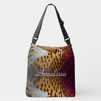Purple and Golden Brown Pheasant Feathers Crossbody Bag