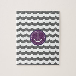 Purple and Gray Anchor with Waves Pattern Jigsaw Puzzle